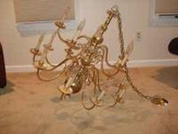 Large brass chandelier for sale. Works fine. $50.