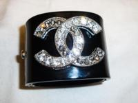 Black Chanel Cuff. Stunning inspired Chanel signature