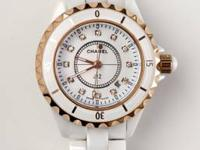 This white Chanel J12 watch with rose gold features is