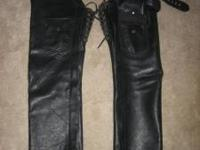Black Leather Chaps (for riding motorcycles) - NOT
