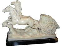 A. SANTINI SIGNED CHARIOT SCULPTURE. A vintage