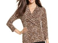 A brilliant animal print and chic faux-wrap design