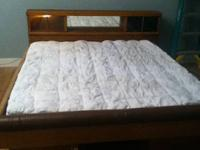King size waterbed/platform bed with lighted headboard
