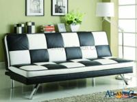 This retro style sofa bed functions modern chromed