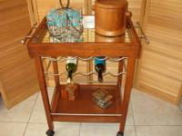 Cherry Bar Cart / Wine Rack for 10 Bottles - Has Wheels