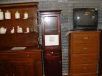 Cherry Curio Cabinet Glass Door $88.95 Furniture Plus