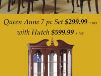 CHERRY FINISH 6 CHAIR AND TABLE AND HUTCH $$$$$$$$$$