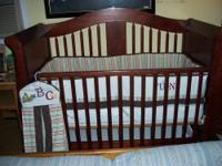 Beautiful Cherry finish Baby Bed with Storage Drawer