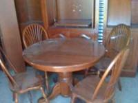 Solid cherry dining table with 2 leaves and 4 chairs