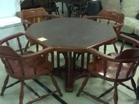 For sale is a cherry octagon eating table & 4 club
