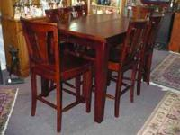 Handsome Pub Height Cherry Table and 8 Chairs: Table