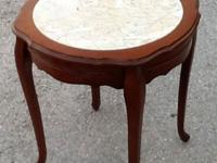 Cherry Wood Side Table with Marble Inlay, Great