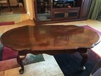Beautiful matching cherry wood coffee table and two end