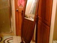 Cherry Wood Standing Mirror Paid over $120 asking $60