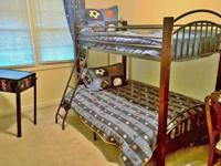 BEAUTIFUL Cherry & WROUGHT IRON BUNK BED with