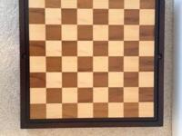 Chess, Checkers & Backgammon board/set (dark wood) in