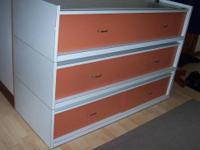 Commercial chest of drawers Three sections, two drawers