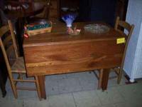 Gorgeous chestnut drop leaf table available at The