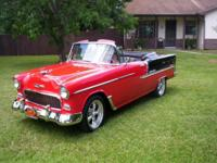 This is a beautiful 1955 Chevrolet Bel Air Convertible.