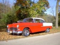 1955 CHEVY BELAIR 2DR HT WITH SUPERCHARGER, RED AND