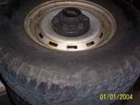 These steel wheel are in good shape and the mud tires