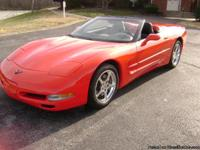 02 corvette convertible red black top black leather
