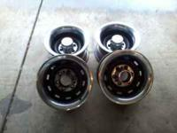 up for sale are a set of (4) Chevy rally wheels with