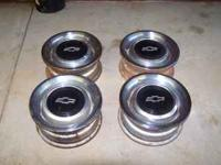 "4-Chevy rally wheels 15"" x 7"" they are 5 lug In good"