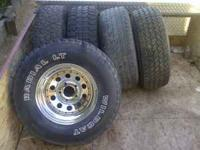"15"" chevy wheels. Tires are 31 10.50 15 BUT ARE NO"