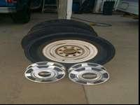 Stock Chevy steel wheels they have 245/75/16 lug