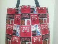 "* Handmade * 14"" H x 14"" W * Chicago Bulls cotton print"