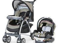The aluminum frame Cortina Travel System Stroller comes