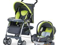 The Chicco Cortina Travel System Stroller in Zest comes