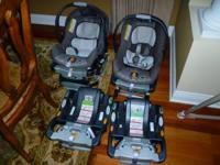 Two lightly used Chicco Keyfit30 baby carriers with