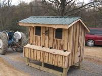 5ft X 8ft chicken coop on treated skid 6 nesting boxes,