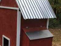 Hand built red and white chicken coop for sale with 2