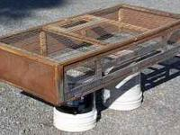 Large Chicken or Poultry Crate... Wood Frame... Side
