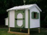 3x4 coop with green shutters white body is $599.