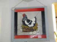THIS COUNTRY HEN IS ARTFULLY PAINTED ON AN ANTIQUE