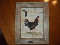 ~Chicken picture on metal with barnwood frame. 9.5 x