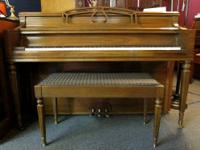 Lovely Chickering console piano with matching