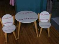 Baseball themed Table with 2 chairs Very good