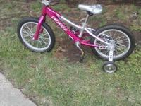 For sale, a small bicycle with training wheels that we