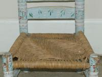 Child's Chair Hand Painted Folk Art Wood Chair Seat is