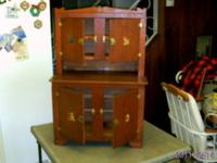 ANTIQUE HANDMADE NATURAL WOOD CHILD'S PLAY HUTCH.