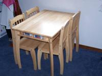 Child's play table & chair set. Includes 4 well made