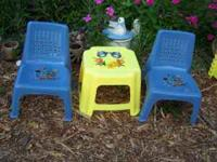Child's Little Table Set - 2 Blue Chairs and Yellow