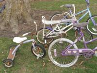 We have 4--Bicycles, and a small purple Trike for sale.