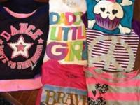 3 justice size 7 shirts , brave shirt size 7-8 and last