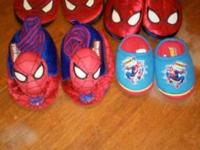 3 pairs of Spider-Man slippers size 9-10 and 1 pair